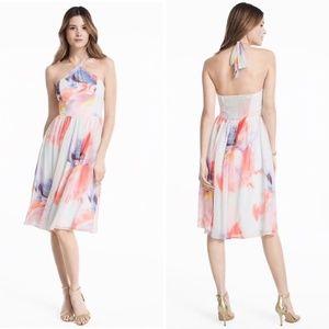 WHBM | NWOT watercolor floral halter  dress